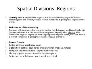 Spatial Divisions: Regions