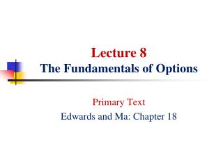Lecture 8 The Fundamentals of Options