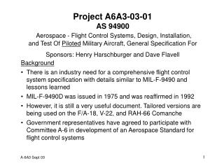 Project A6A3-03-01 AS 94900 Aerospace - Flight Control Systems, Design, Installation,