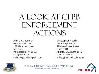 A Look At  cfpb  enforcement actions