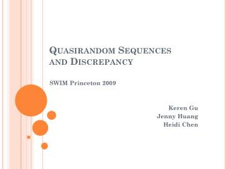 Quasirandom  Sequences  and Discrepancy