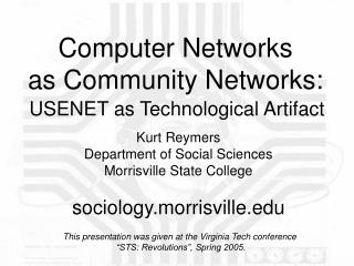 Computer Networks  as Community Networks:
