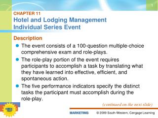 CHAPTER 11 Hotel and Lodging Management  Individual Series Event