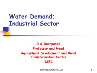 Water Demand; Industrial Sector