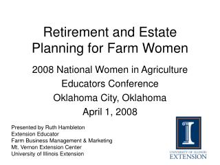 Retirement and Estate Planning for Farm Women