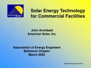 Solar Energy Technology for Commercial Facilities
