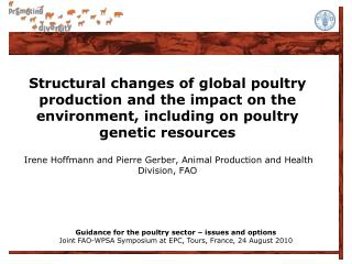 Guidance for the poultry sector – issues and options
