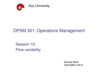OPSM 301: Operations Management