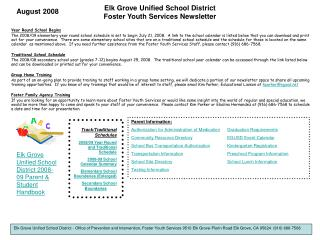 Elk Grove Unified School District Foster Youth Services Newsletter