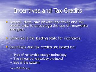 Incentives and Tax Credits