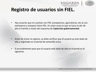 Registro de usuarios sin FIEL.