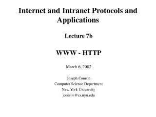 Internet and Intranet Protocols and Applications