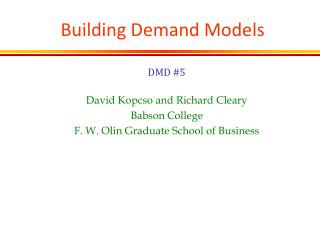 Building Demand Models