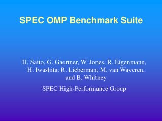 SPEC OMP Benchmark Suite