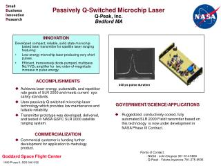 Passively Q-Switched Microchip Laser Q-Peak, Inc. Bedford MA