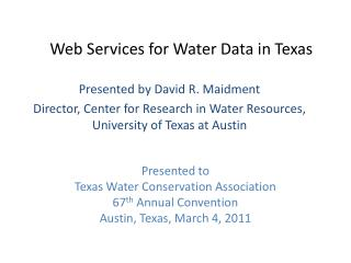 Web Services for Water Data in Texas