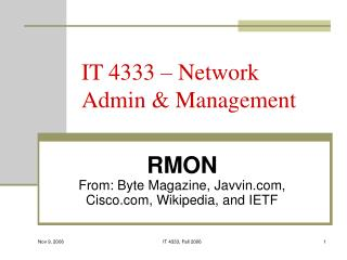 IT 4333 – Network Admin & Management
