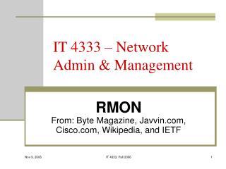 IT 4333 � Network Admin & Management