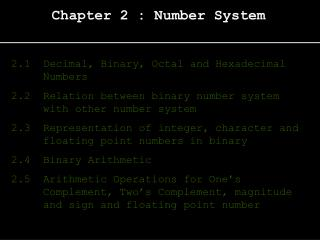 Chapter 2 : Number System