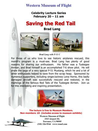 Western Museum of Flight Celebrity Lecture Series February 20 – 11 am