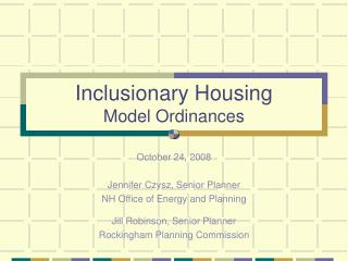 Inclusionary Housing Model Ordinances
