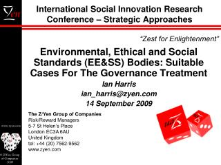 International Social Innovation Research Conference � Strategic Approaches