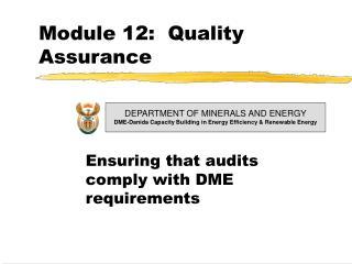 Module 12:  Quality Assurance
