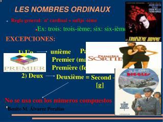 LES NOMBRES ORDINAUX