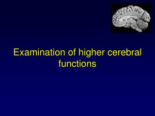 Examination of higher cerebral functions