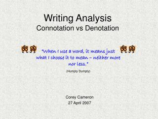 Writing Analysis Connotation vs Denotation