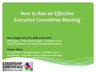 How to Run an Effective  Executive Committee  Meeting