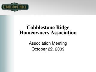 Cobblestone Ridge Homeowners Association