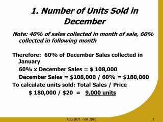 1. Number of Units Sold in December