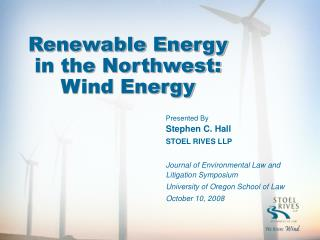 Renewable Energy in the Northwest:  Wind Energy
