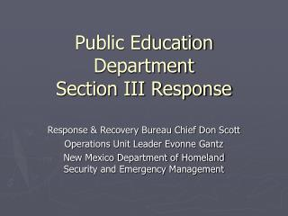 Public Education Department Section III Response