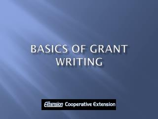 Basics of Grant writing