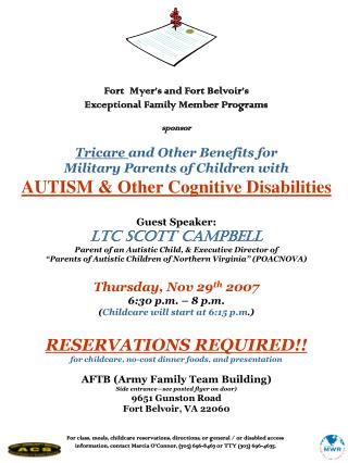 Fort  Myer's and Fort Belvoir's Exceptional Family Member Programs sponsor