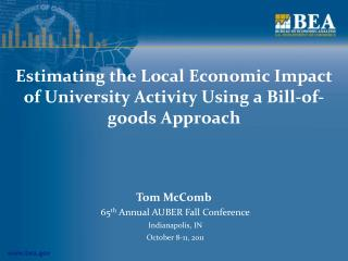 Estimating the Local Economic Impact of University Activity Using a Bill-of-goods Approach