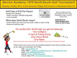 Golf Fees of $79 Per Person Includes the Following:  Green/ cart fees, Unlimited range balls