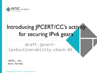 Introducing JPCERT/CC's activity for securing IPv6 gears