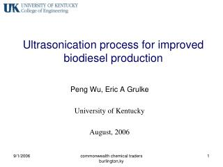 Ultrasonication process for improved biodiesel production