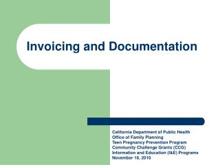 Invoicing and Documentation