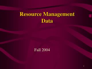 Resource Management Data