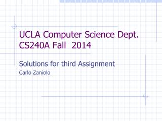 UCLA Computer Science Dept. CS240A Fall  2014