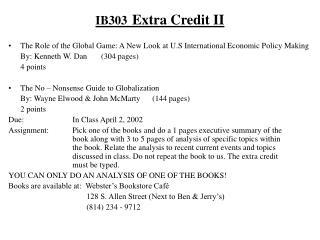 IB303 Extra Credit II