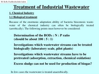 Treatment of Industrial Wastewater
