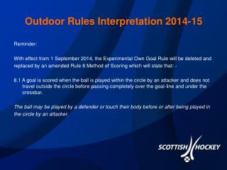 Outdoor Rules Interpretation 2014-15