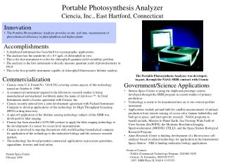 Portable Photosynthesis Analyzer Ciencia, Inc., East Hartford, Connecticut