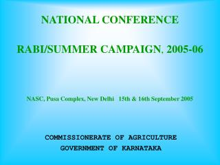 COMMISSIONERATE OF AGRICULTURE GOVERNMENT OF KARNATAKA