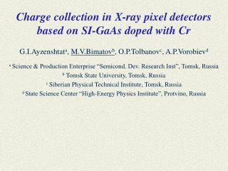 Charge collection in X-ray pixel detectors based on SI-GaAs doped with Cr